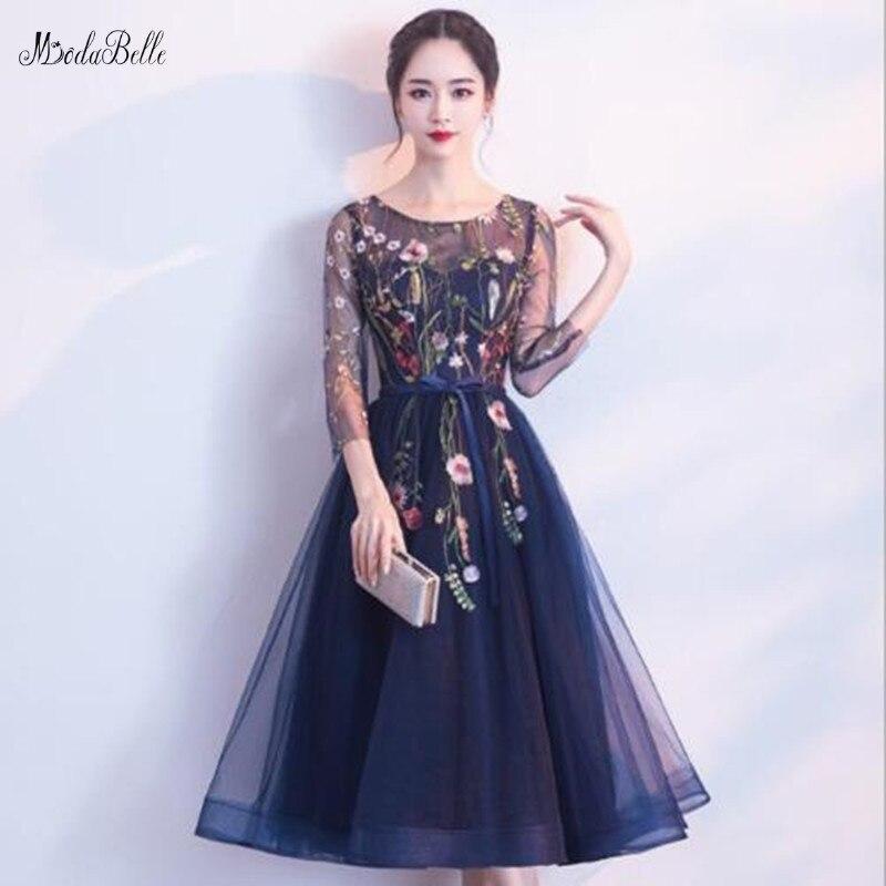 Modabelle темно синие вечерние Платья vestidos De Mujer Fiesta Noche 3D Цветочные Цветы чай длина выпускные Lange Jurken