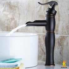 Newly Waterfall Basin Vessel Sink Faucet One Handle Brass Oil Rubbed Bronze Mixer Tap for Bathroom