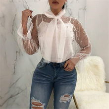 BKLD Women Bow Tie Neck Mesh Shirts Pearls Beading Long Sleeve Sexy Transparent Blouses Ladies Casual Tops Blusas With Tank Tops(China)