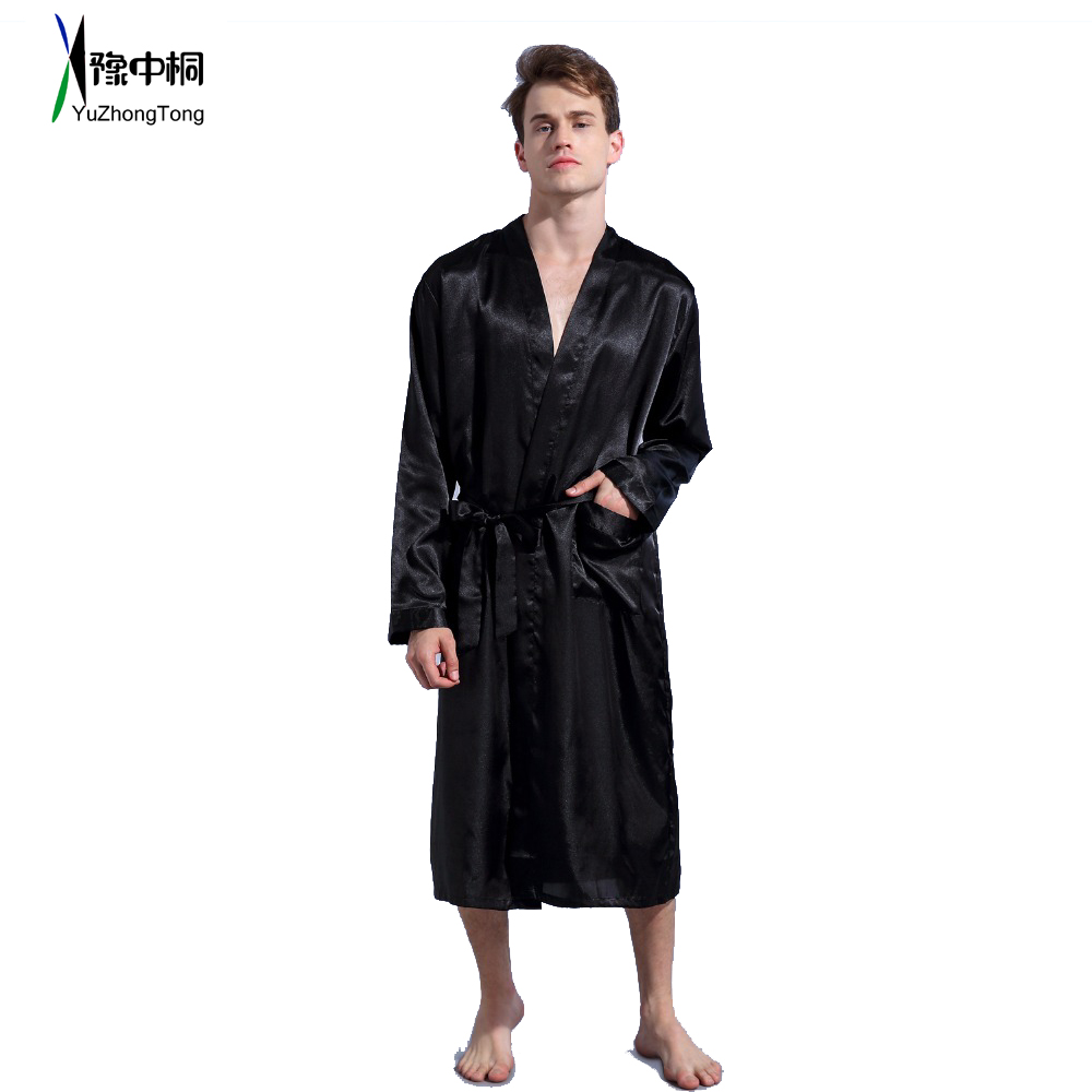 Black Loose Leisure Men's Rayon Satin Robe Gown Solid Kimono Bathrobe Casual Nightwear Sleepwear Pajamas S M L XL XXL TBG0610