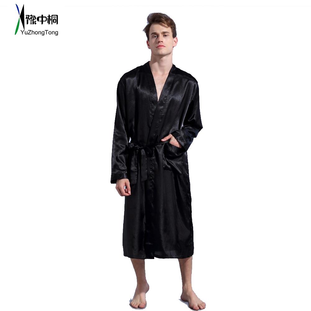 Black Loose Leisure Men's Rayon Satin Robe Gown Solid Kimono Bathrobe Casual Nightwear Sleepwear Pajamas S M L XL XXL TBG0610