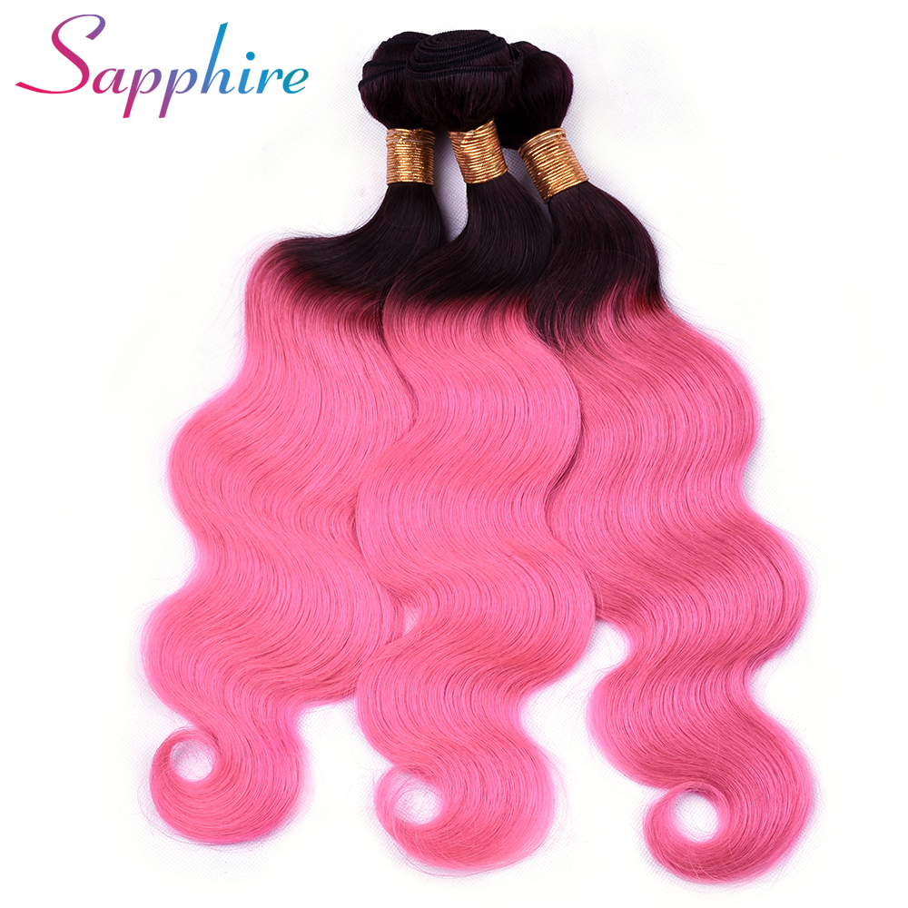 SAPPHIRE Pre-Colored Ombre Brazilian Hair Bundles TB/Pink 4 Bundles Body Wave Human Hair Weave Remy Human Hair