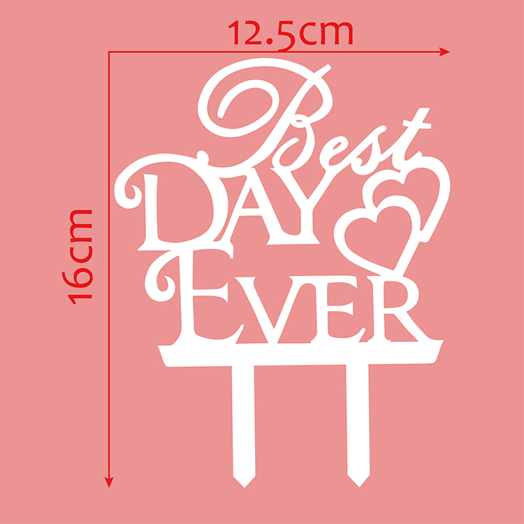 Best Day Ever Love Heart Wedding Cake Flags Black White Gold Silver Acrylic Cake Topper Wedding Anniversary Party Cake Decor-4