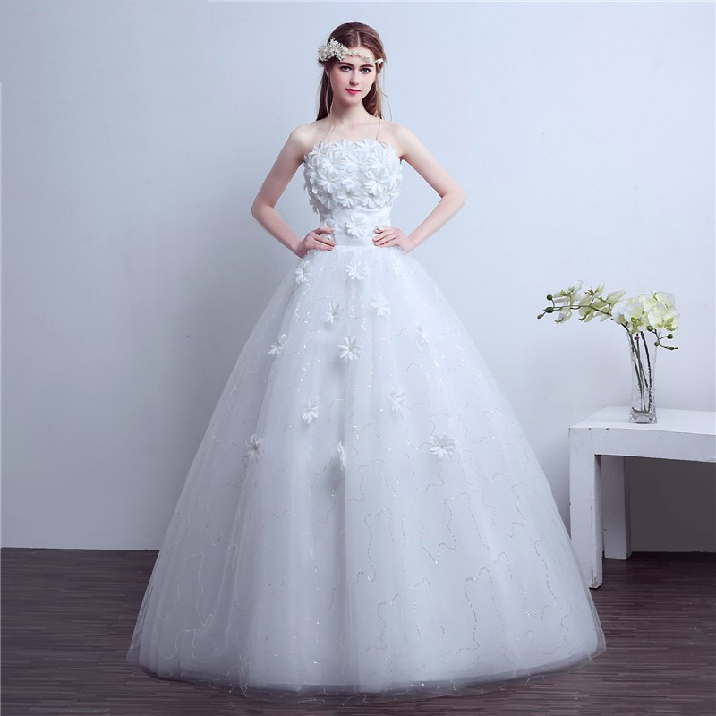 AnXin SH Flower princess Tube top wedding dress princess red and ...