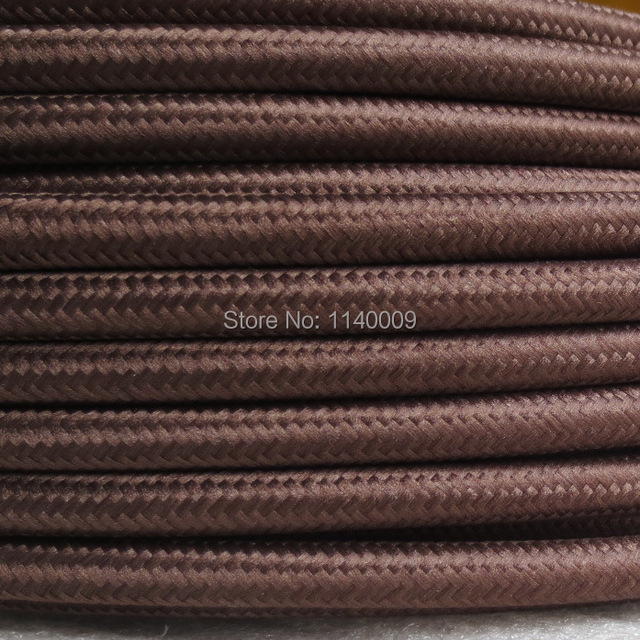 Brown color 3 core 0.75mm2 Edison lamp wire color braided electrical ...