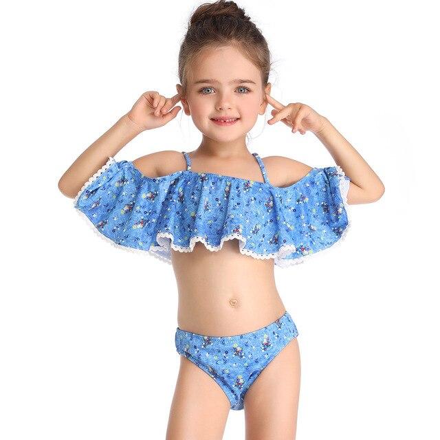 e1e1bfb6f Niñas hombro trajes de baño 2019 niños Bikini traje de baño trajes de baño  traje de