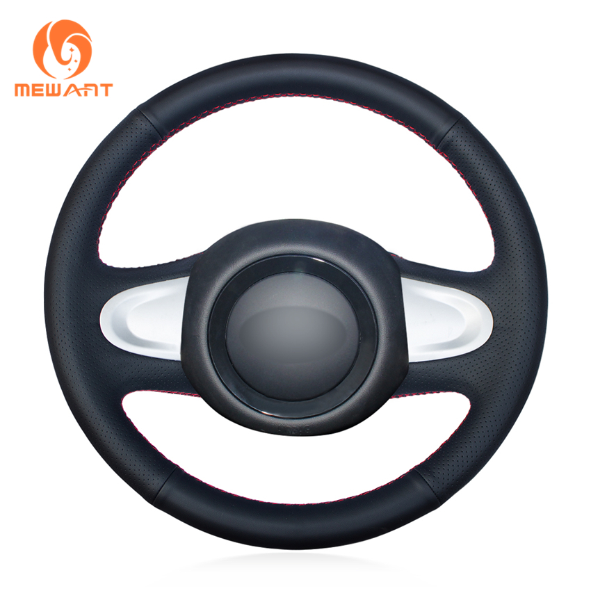 MEWANT Black Genuine Leather Car Steering Wheel Cover for Mini Coupe 2013 (2-Spoke) mewant black suede genuine leather car steering wheel cover for chevrolet niva 2009 2017 3 spoke