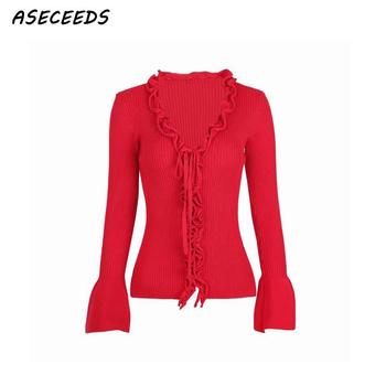 Korean cardigans women Autumn vintage black red kawaii cute ruffle sweaters fashion 2018 women fall winter tops streetwear