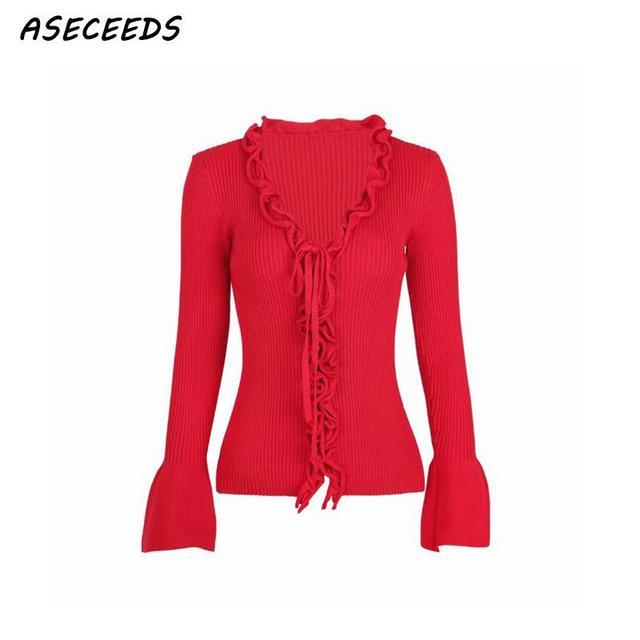 Korean cardigans women Autumn vintage black red kawaii cute ruffle sweaters  fashion 2018 women fall winter tops streetwear 9f7e3af49