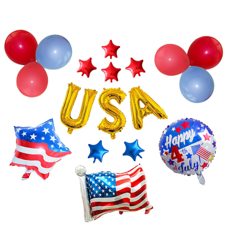 American Independent Day <font><b>4</b></font> of <font><b>July</b></font> Party <font><b>Decoration</b></font> Latex 18 inch Balloon Set image