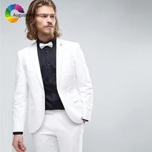 White Slim Fit Wedding Men Suits Groom Wear Tuxedos 2 Pieces (Jacket+Pants) Bridegroom Suits Best Man Prom Blazer costume homme beige slim fit wedding suits groom tuxedos 2 pieces jacket pants bridegroom men suits best man blazer prom wear