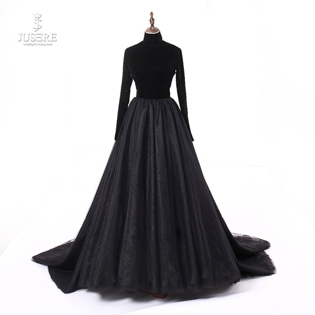 Jusere Real Photos High Neck Back Open Black Prom Dresses Silk Velvet A Line Evening Dress With Tail robe de soiree 2019