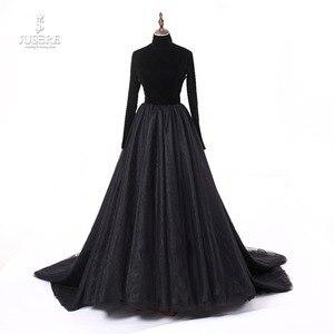 Image 1 - Jusere prawdziwe zdjęcia wysokiej szyi powrót otwórz czarne suknie balowe jedwab aksamit linia wieczorowa sukienka z ogonem szata de soiree 2019