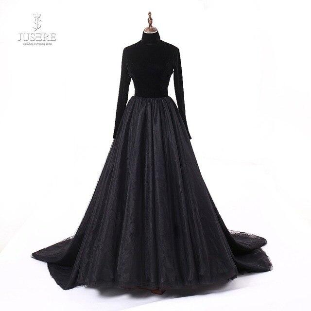 Jusere prawdziwe zdjęcia wysokiej szyi powrót otwórz czarne suknie balowe jedwab aksamit linia wieczorowa sukienka z ogonem szata de soiree 2019