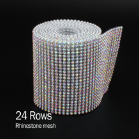 24Rows SS8 CrystalAB Rhinestone Mesh Aluminum Silver Base With Glue For Garment Bags Free Shipping