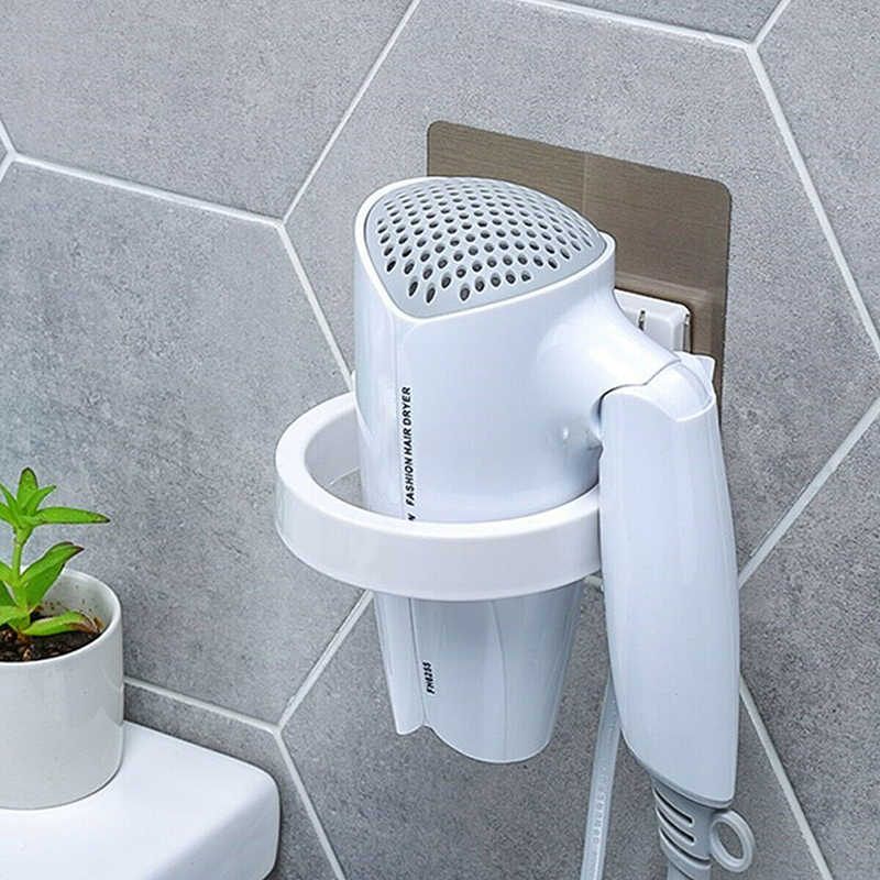 High Quality Wall-mounted Hair Dryer Holder ABS Bathroom Shelf Storage Hairdryer Holder Rack Organizer For Hairdryer Dia. 8.9cm
