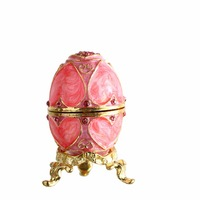 Pink Easter Metal Crafts Gifts Embroidery Russian Egg Jewelry Trinket Box For Christmas Gifts Wedding Jewelry
