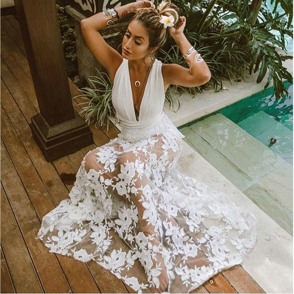 Charming Ivory Lace Long   Prom     Dresses   2019 Women Party Evening Gowns V-Neck Backless A-Line Transparent Cheap Lady   Prom     Dress