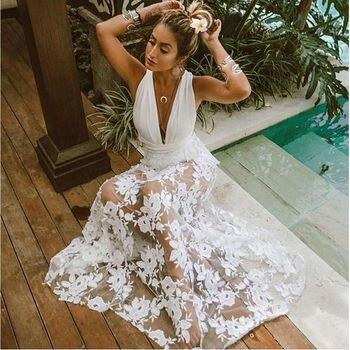 ad6d25b79 Encantador de marfil de encaje vestidos de baile de 2019 las mujeres  vestidos de noche con cuello en V sin respaldo una línea transparente  señora barata ...