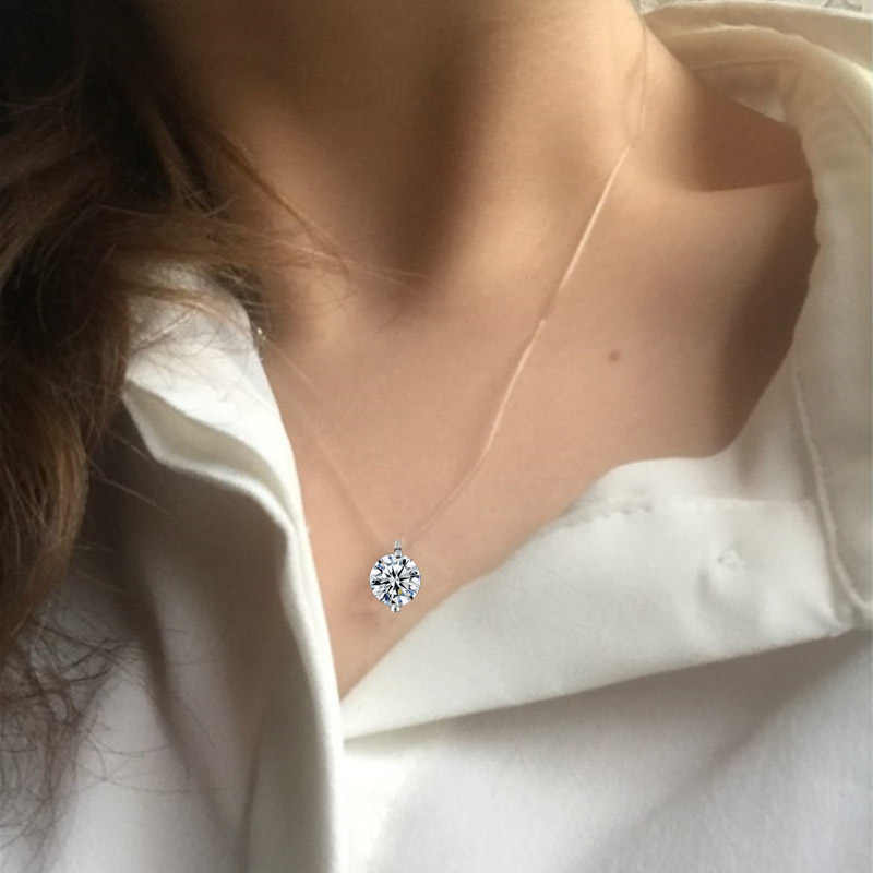New Teardrop Pendant Necklace 2018 transparent fishing line Jewelry Necklace clavicle Chain Invisible Woman Pendant Necklace