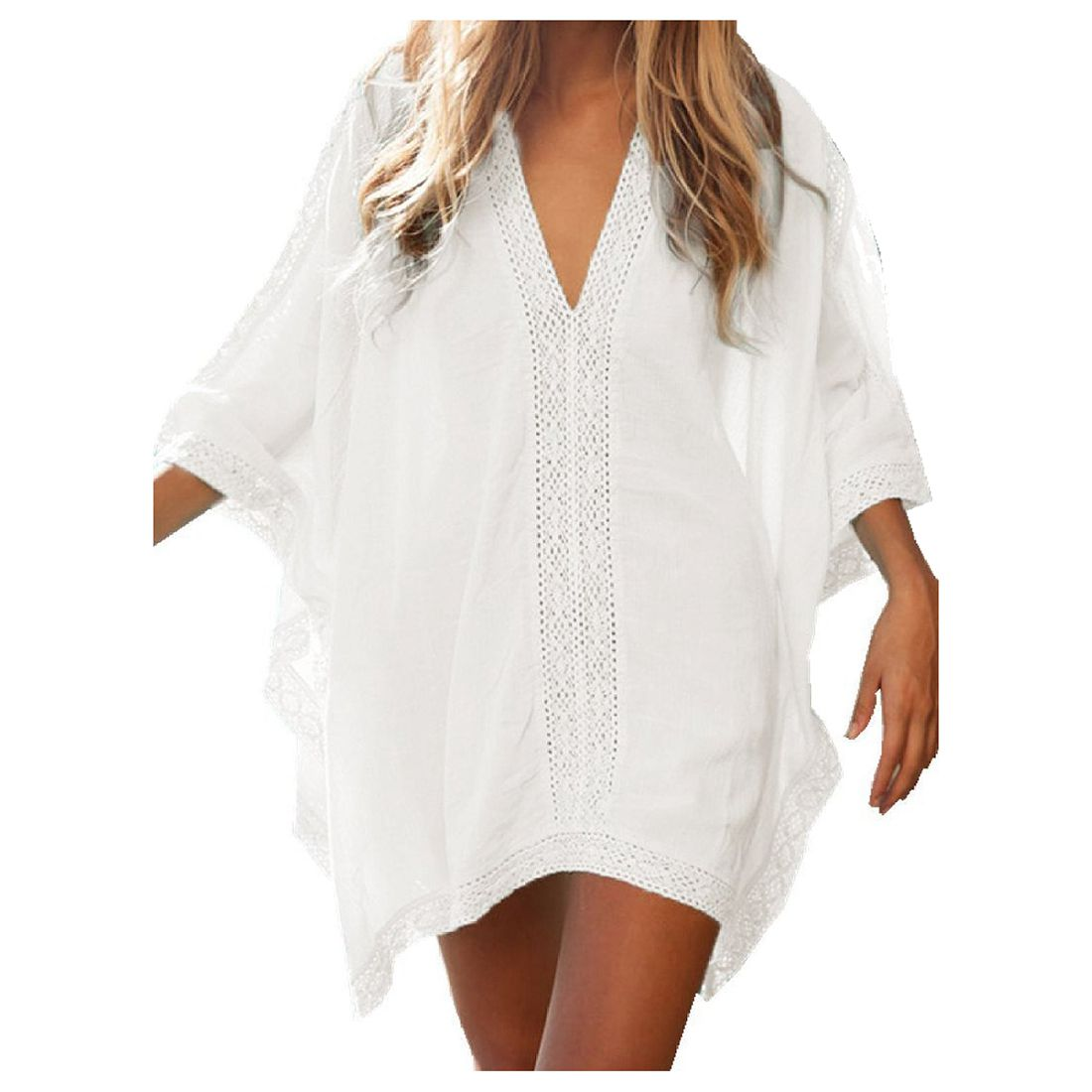 Womens Solid Oversized Beach Cover Up Swimsuit Bathing Suit Beach Dress, White