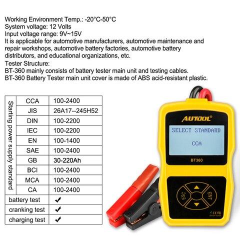 Mr Cartool BT360 Car Battery Tester Analyzer Digital 12V  Auto For Flooded AGM GEL BT-360 Automotive Batterys Analyzer CCA Pakistan