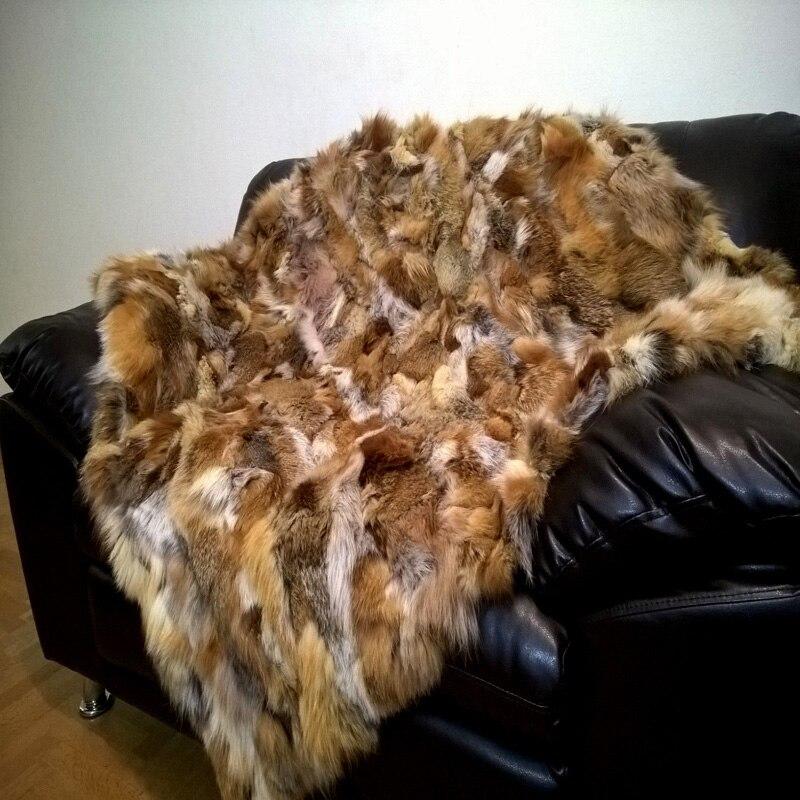 Natural Real Fur Rug Fox Fur Blanket Floor Decorative