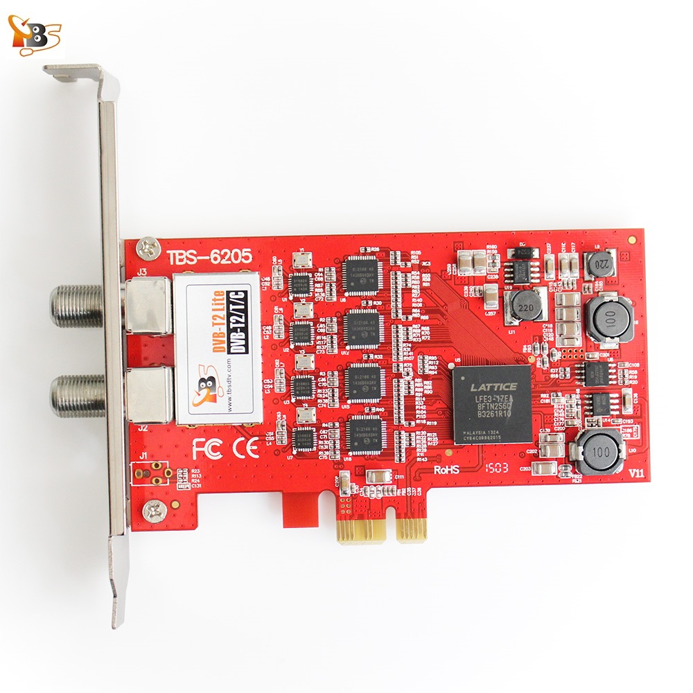 UE Warehouse Trasporto Libero! TBS6205 DVB-T2/T/C Quad TV Tuner Card PCIe per Guardare UK Freeview SD e HD Canali on PC