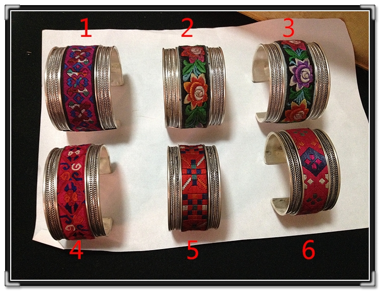 Limited Version Fully Handmade Miao Silver Wide Bangles With Embroidery Patch Ethnic Fashion Antique Silver Artwork 1PC Price
