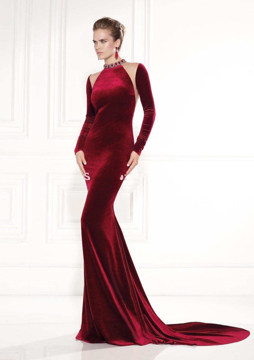 Burgundy Mermaid Beaded Long sleeve Prom gown New years eve 2017 ...