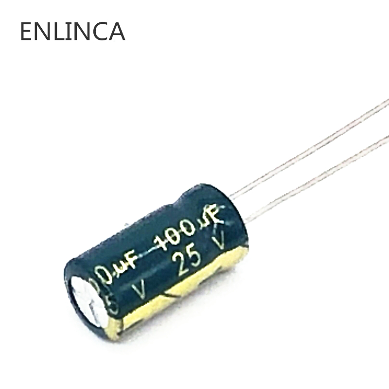 50pcs/lot T01 25V 100UF Low ESR/Impedance High Frequency Aluminum Electrolytic Capacitor Size 6*12 100UF25V 20%