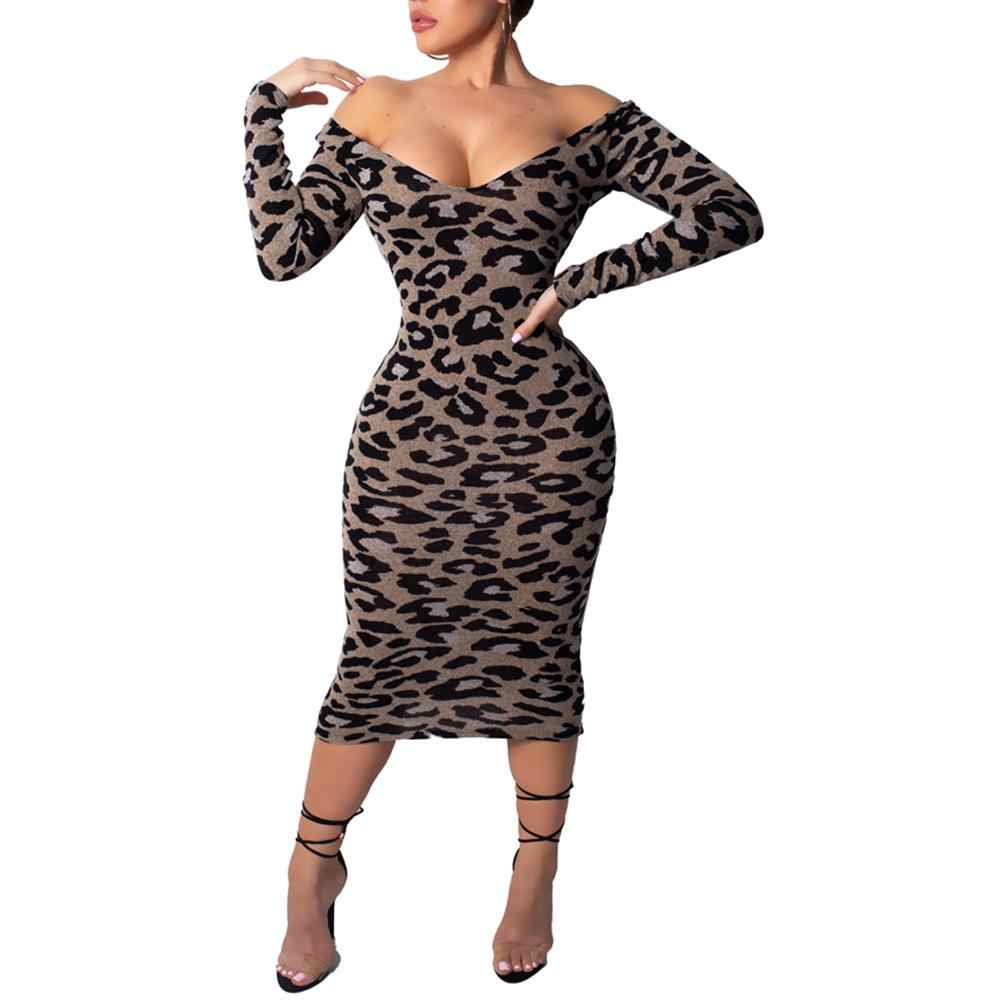 Party Leopard Print Off Shoulder V Neck Long Sleeve Polyester Spandex Sexy  Women Bodycon Below Knee caacacbaef45