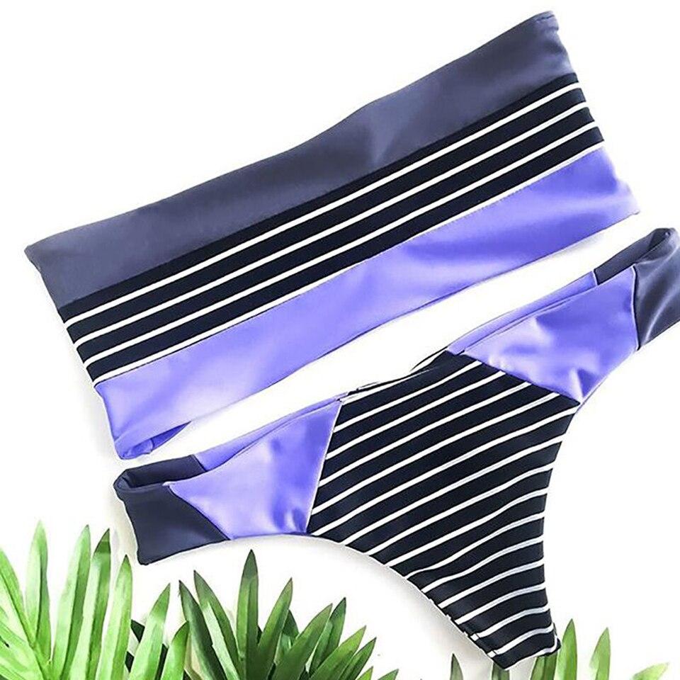 JABERAI rayas Bandeau Bikini traje De baño mujeres traje De baño Tanga inferior Bikini traje De baño Mujer