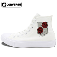Unisex Converse Chuck Taylor II Shoes Attack on Titan Military Police Regiment Logo Stationed Corps Black White Canvas Sneakers