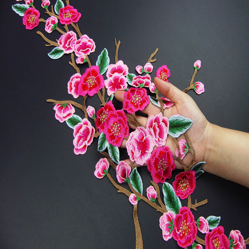 Clothes diy accessories Long lace fabric peach blossom Patches applique embroidery material multicolor flower applique.
