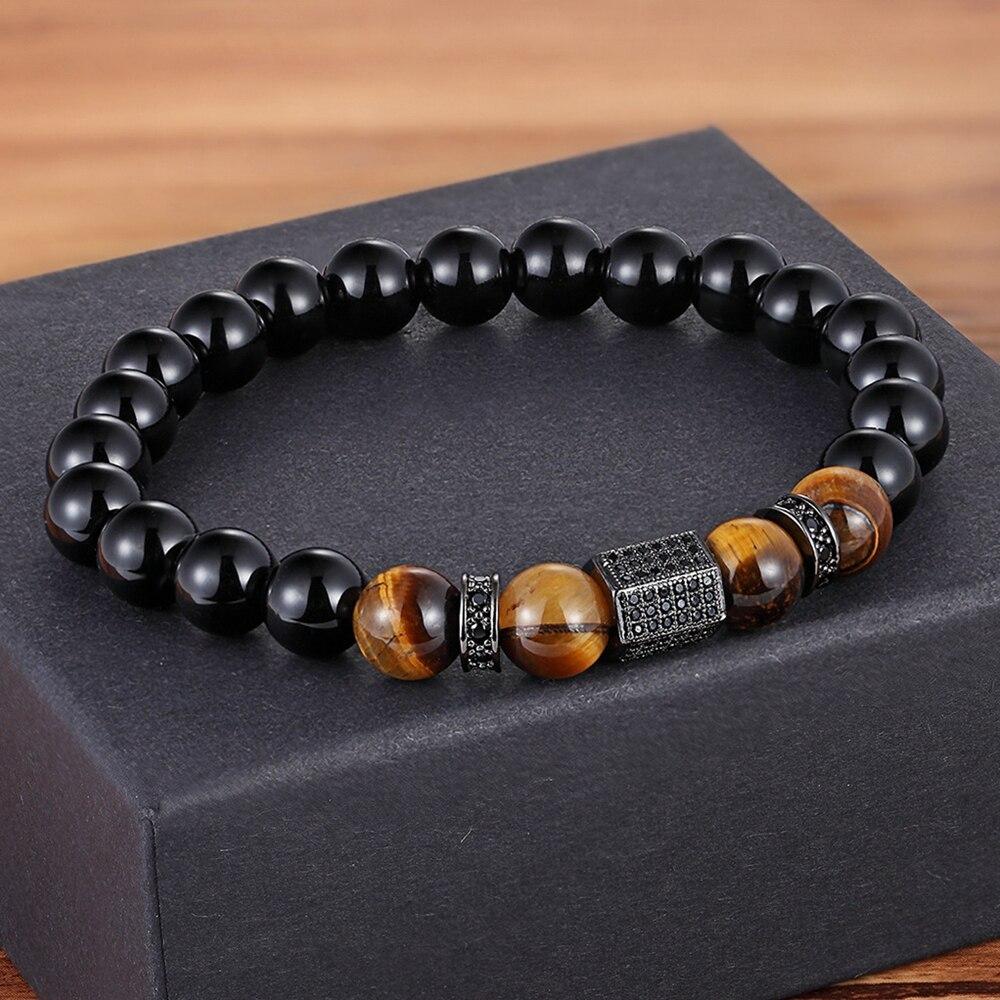 African CZ Charm Stretch 8MM Tiger Eye Shiny Black Beads Bracelets