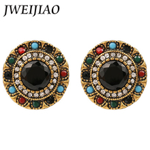 JWEIJIAO High quality Crystal Clip Earrings Colorful Cabochon Enamel Jewelry Vintage Round Flower Earrings E0074