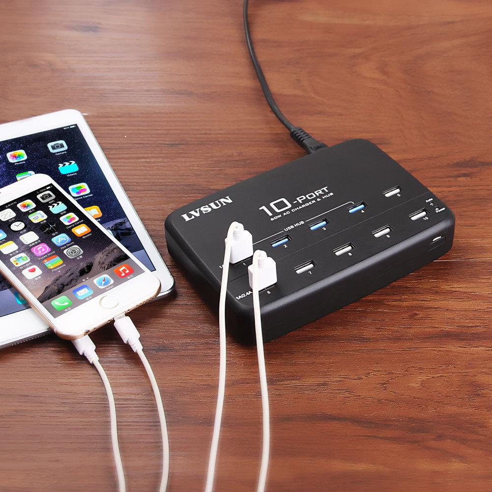Udoli universel 10 ports bureau USB chargeur mural Multi Port AC adaptateur secteur avec USB 2.0 HUB pour tablette iPad 4 4 s 5 5 s 6
