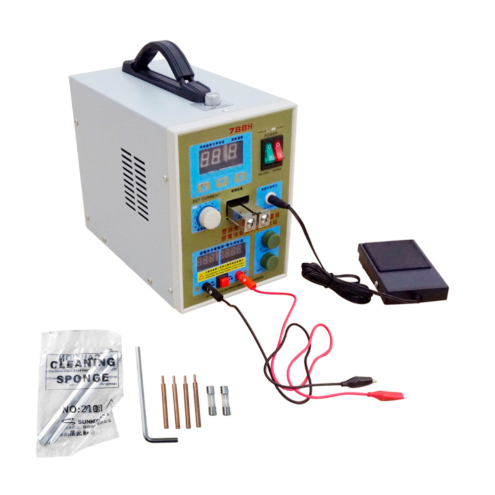 LED Batterie Soudeuse 788 H De Soudage Machine Micro-ordinateur 18650 Batterie chargeur 800 Un 0.1-0.2 Mm 36 V avec LED lumière