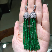 one pair green stone roundel faceted hook earrings 80mm wholesale beads nature FPPJ