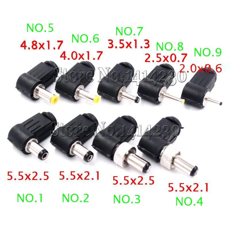 10PCS DC Power Male Plug Jack Adapter 90 Degree Male 5.5x2.1mm 5.5x2.5mm 4.8x1.7mm 4.0x1.7mm 3.5x1.3mm 2.5x0.7mm 2.0x0.6mm