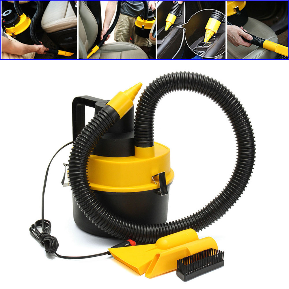 New Portable 12V Wet Dry Vac Vacuum Cleaner Inflator Turbo Hand Held Fits For Car Or Shop CSL2017 12v wet dry canister vacuum cleaner portable inflator turbo low noise compact lightweight hand held for car home