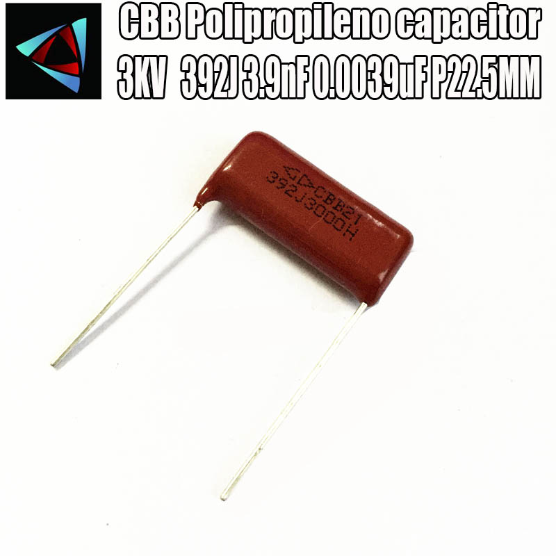 6PCS 3KV 3000V392J 3.9nF 0.0039uF P22.5MM Polypropylene Film Capacitor Pitch 22.5mm