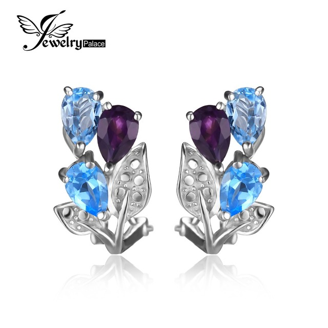 JewelryPalace Flower 2.5ct Natural Amethyst Blue Topaz Clip On Earrings Solid 925 Sterling Silver New Fashion Jewelry For Women