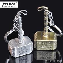 2 Color The Avengers Thor Hammer Keychain 7cm Metal pendant keyring movie chain ring Action Figures Toys