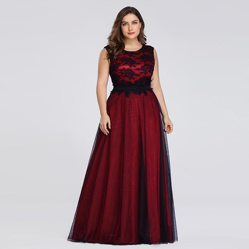 39a41e55a85 Plus Size 2019 Prom Dresses Long Ever Pretty EZ07545 Elegant Burgundy Lace  Applique Tulle Sexy Dark