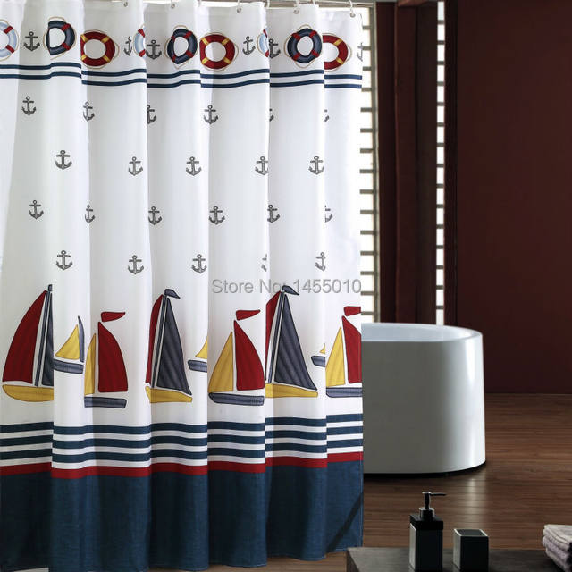 Online Shop Fabric Polyester Sailboat Waterproof Shower Curtain
