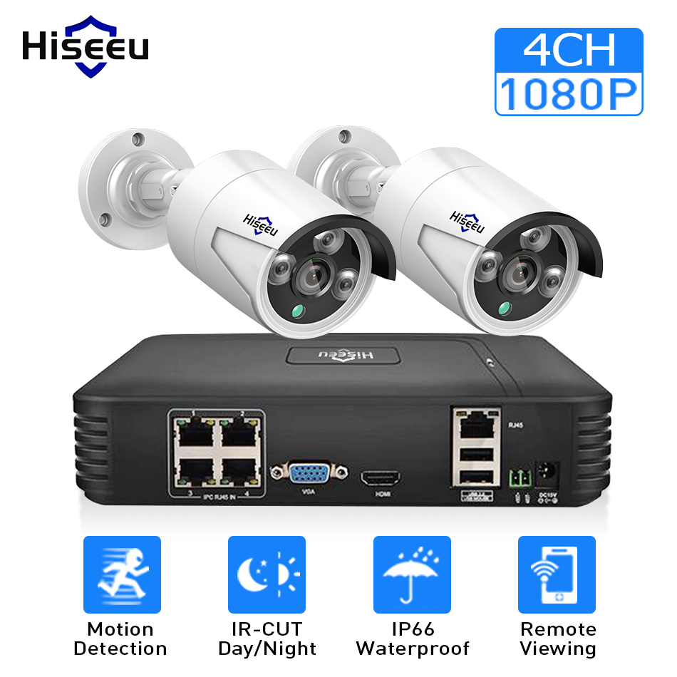4CH 1080 P POE NVR комплекты системы видеонаблюдения с 2 шт. 720 P 1080 P IP Камера ИК Открытый Водонепроницаемый P2P видеонаблюдения дома Hiseeu