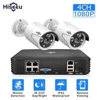 4CH 1080 P POE NVR комплект системы видеонаблюдения с 2шт 1080 P ip-камера наружная Водонепроницаемая домашняя система видеонаблюдения Hiseeu