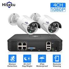 4CH 1080P POE طقم NVR نظام الدائرة التلفزيونية المغلقة مع 2 قطعة 1080P IP كاميرا في الهواء الطلق مقاوم للماء أمن الوطن نظام مراقبة بالفيديو Hiseeu